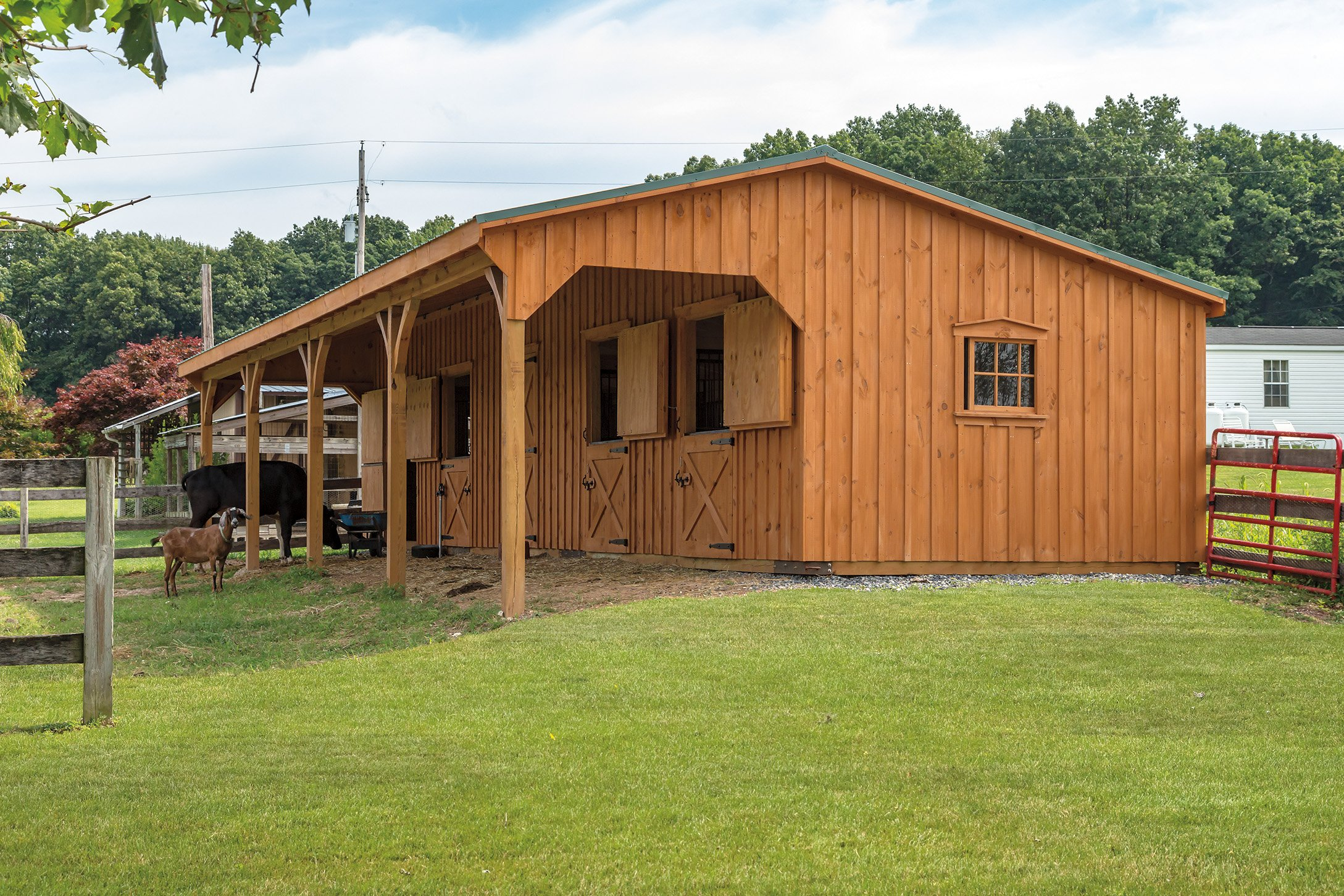 garages amish painted porch smartside sheds barns camps horse storage mini pt hill view