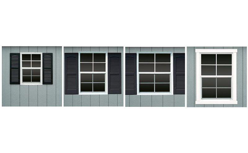 Window options for custom shed.