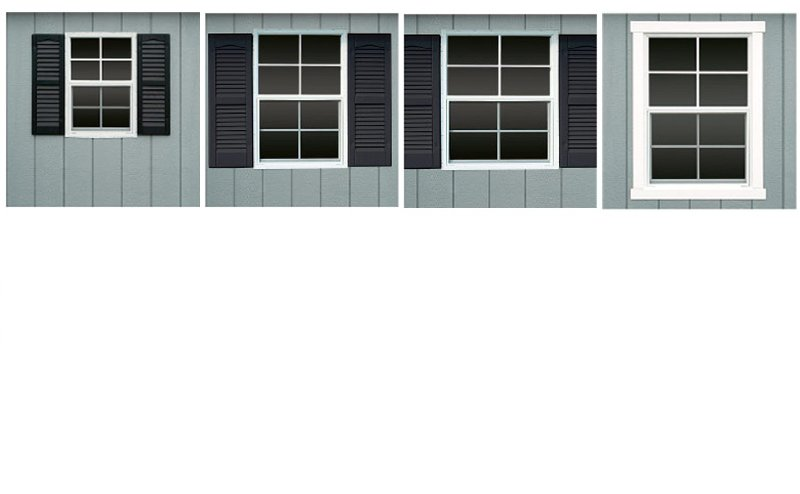 Shed windows, large, extra large, standard, jalousie