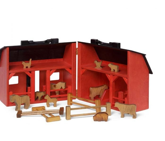 Handmade kids wooden toys barn and barnyard animal set..
