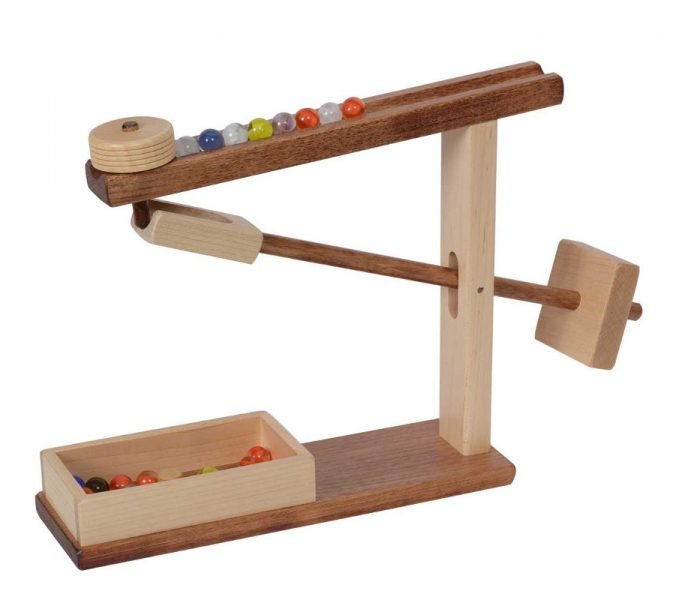 Handmade kids wooden toys marble machine.