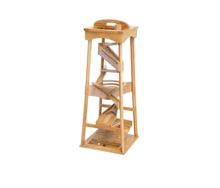 Handmade kids wooden toys marble roller tower.
