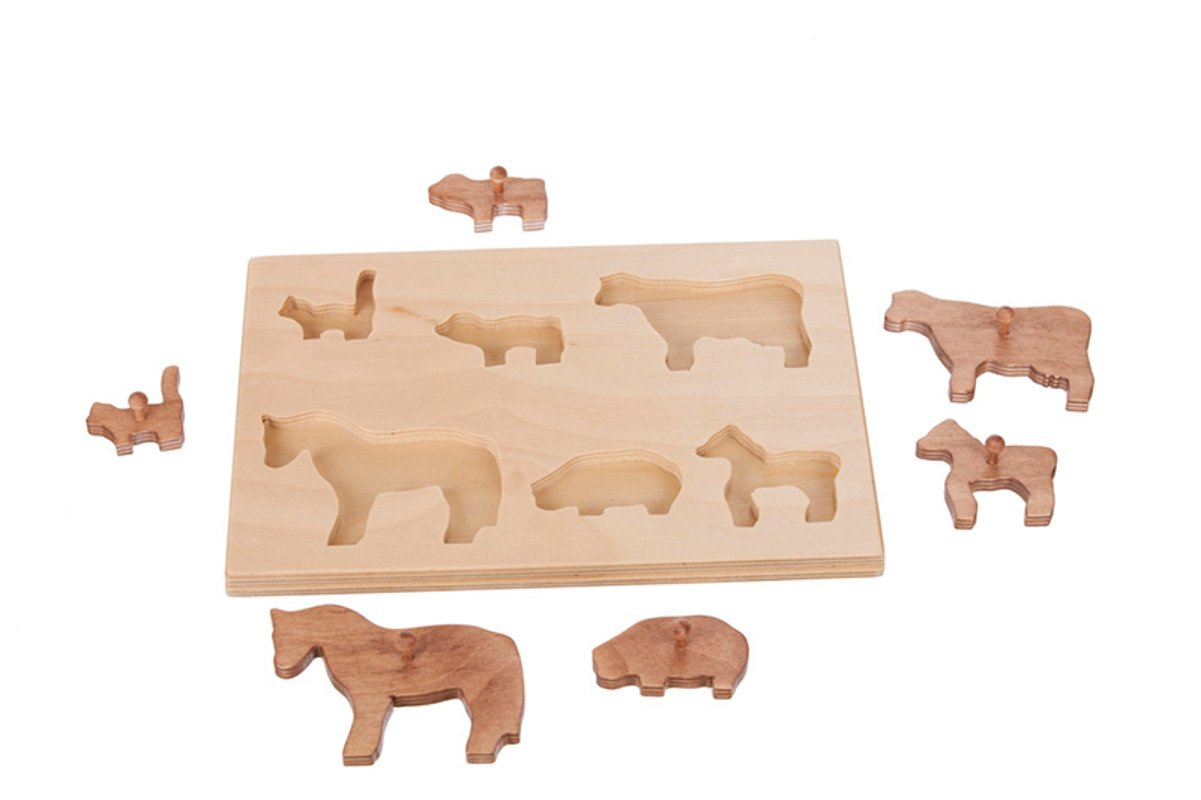 Handmade kids wooden toys barnyard animal puzzle.