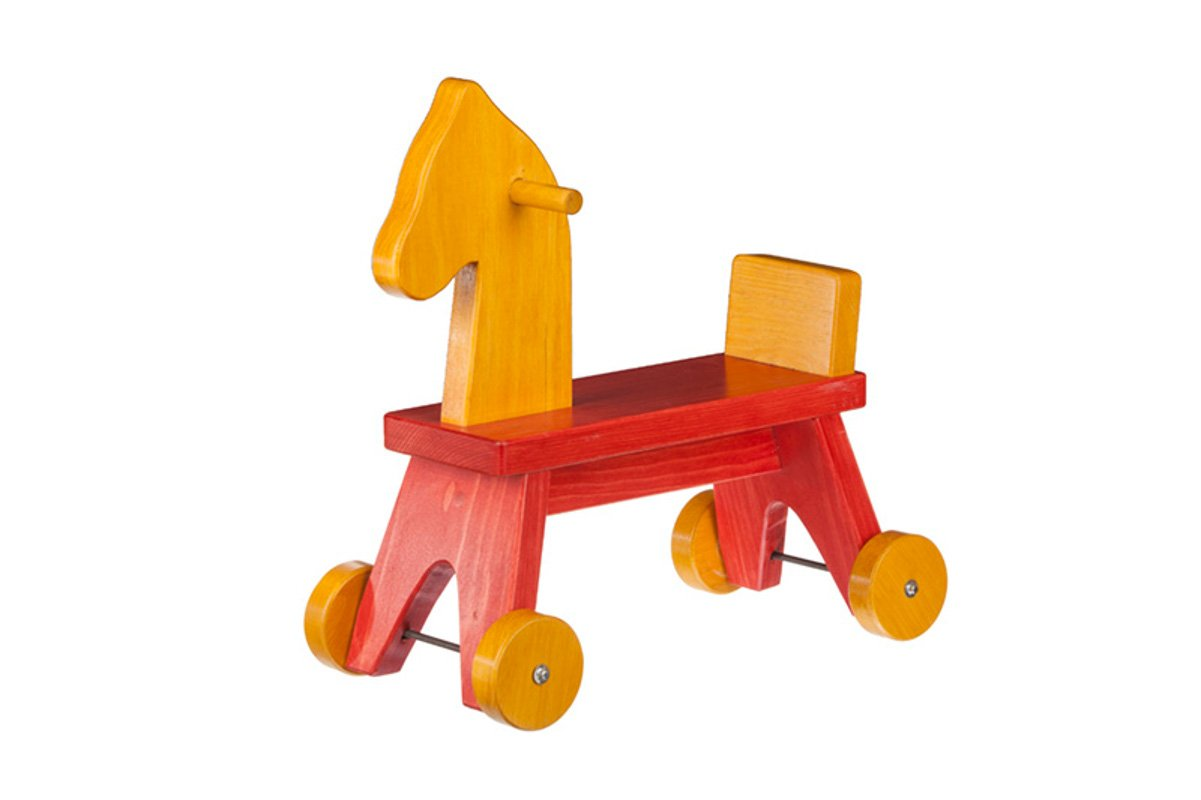 Handmade kids wooden toys rolling horse.