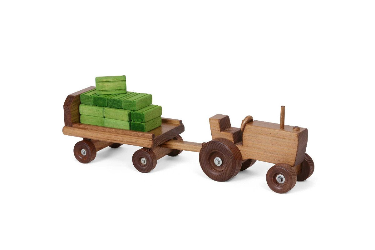 Handmade kids wooden toys tractor with trailer.