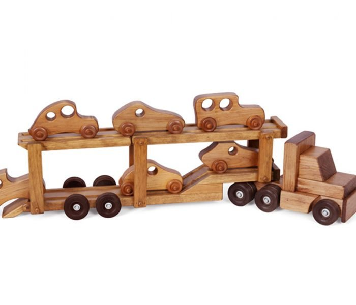 Handmade kids wooden toys car carrier with cars.