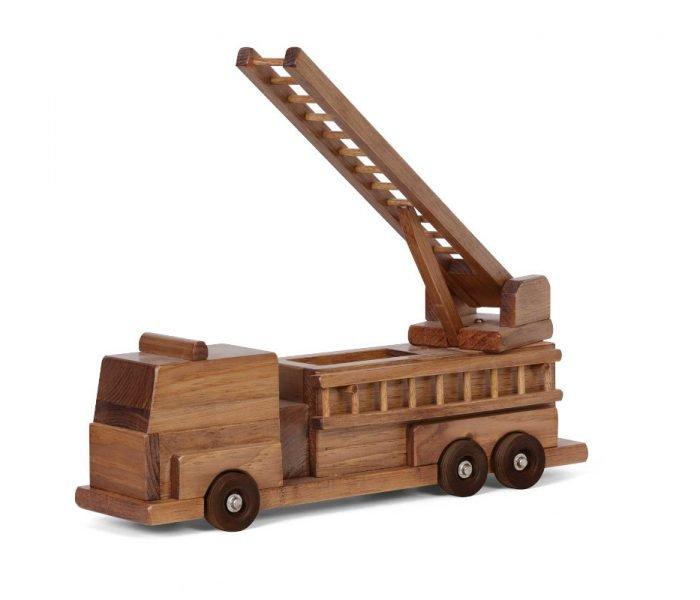 Handmade kids wooden toys fire truck.