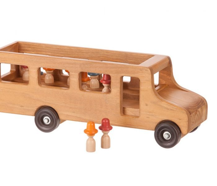 Handmade kids wooden toys bus with riders.