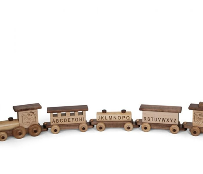 Handmade kids wooden toys alphabet train.