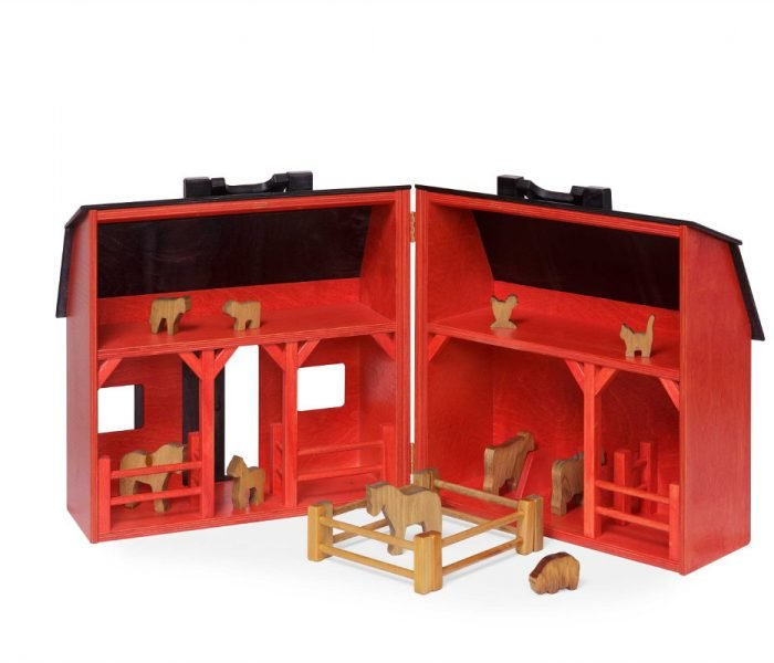 Handmade kids wooden toys barn and barnyard animal set with hinge.