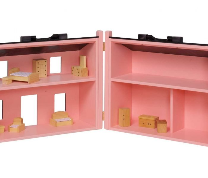 Handmade kids wooden toys dollhouse with furniture and hinge.
