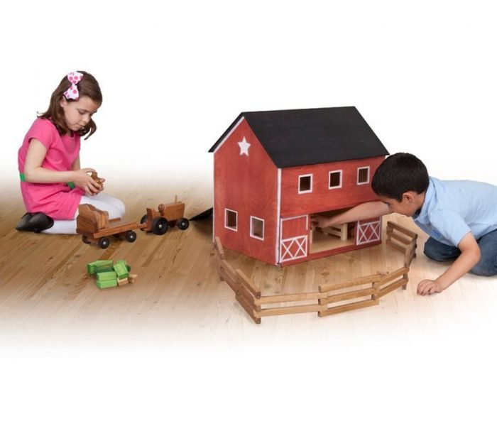 Handmade kids wooden toys barn and barnyard animal set with tractor set and blocks.