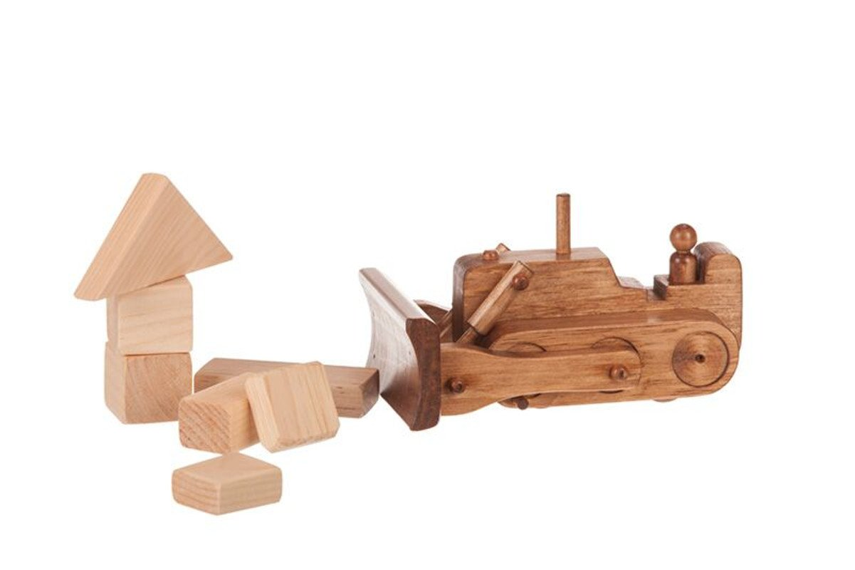 Handmade kids wooden toys bulldozer with operator.
