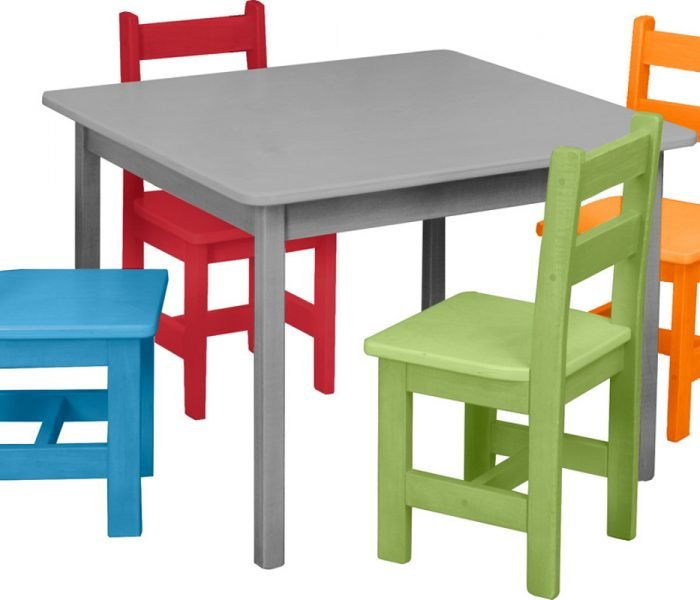 Handmade kids wooden play furniture table and chairs.