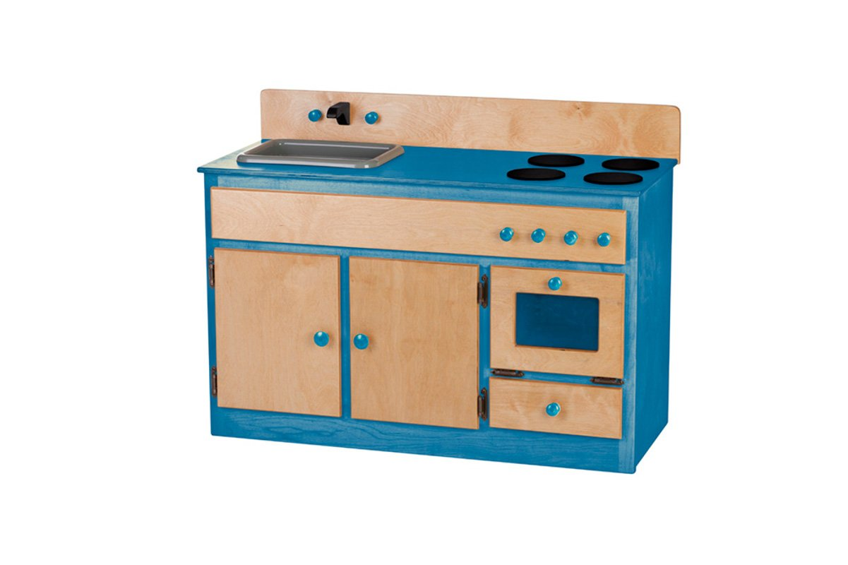 Handmade wooden play kitchen with sink.