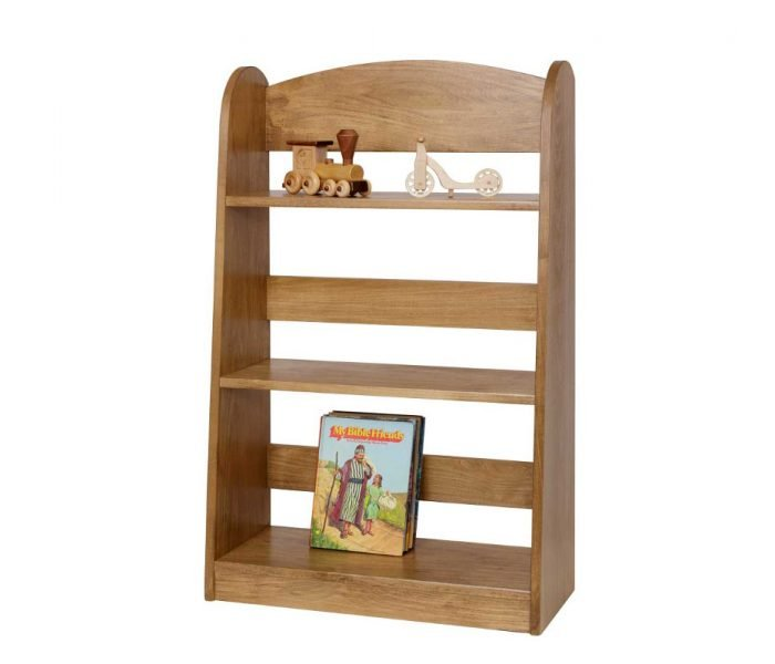 Handmade wooden play furniture bookcase shelf.