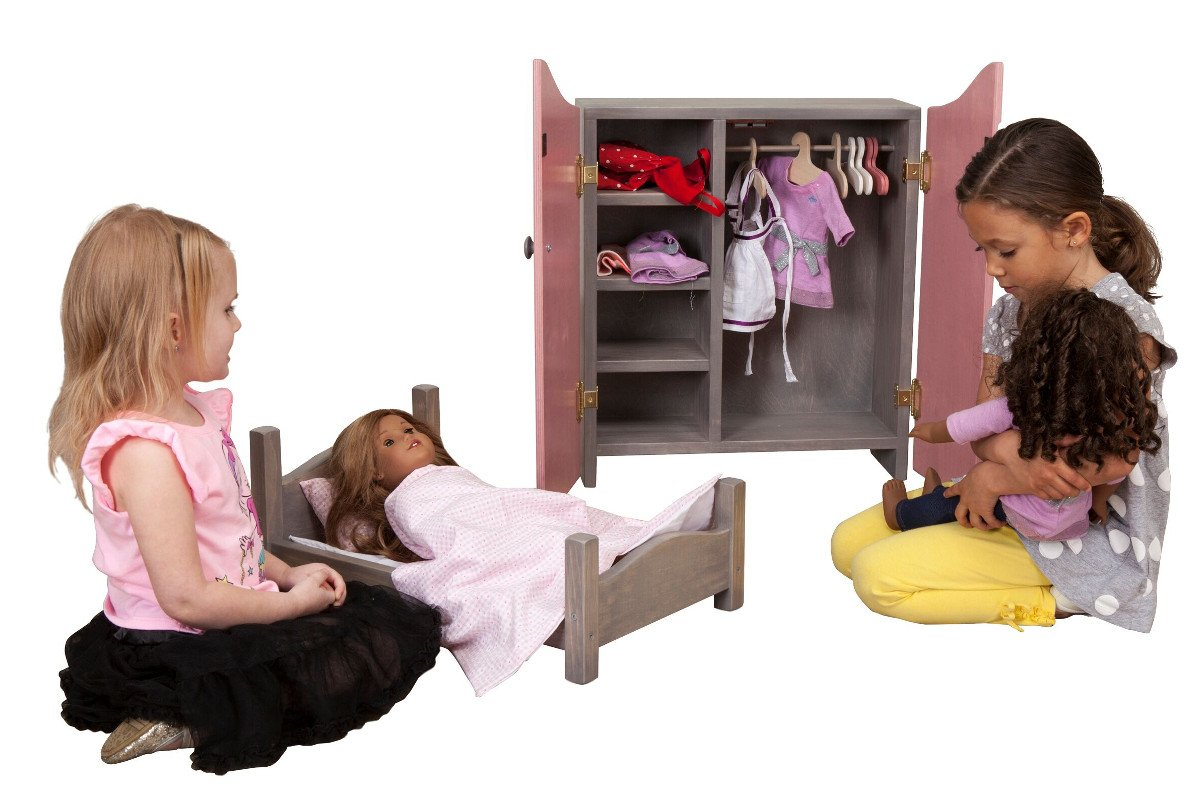 Handmade kids wooden play furniture doll bed and cabinet.