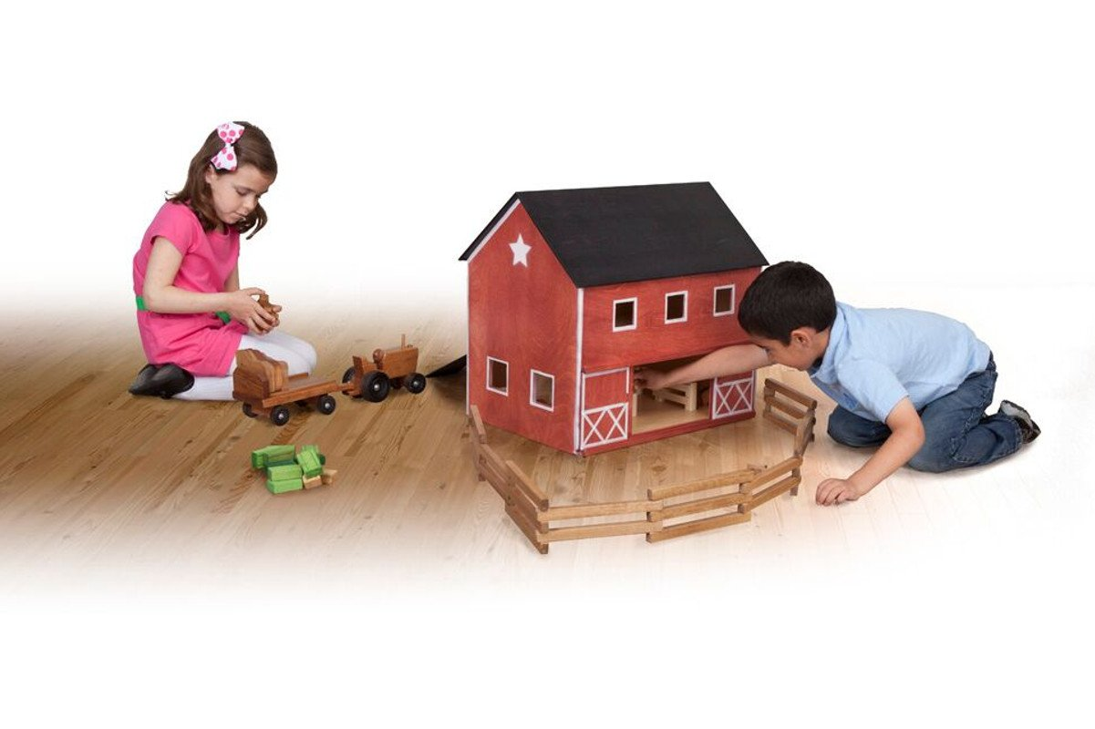 Handmade kids wooden toys barn and tractor set with blocks