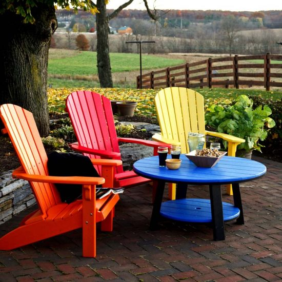 Poly Outdoor Conversation Table with Fanback Chairs