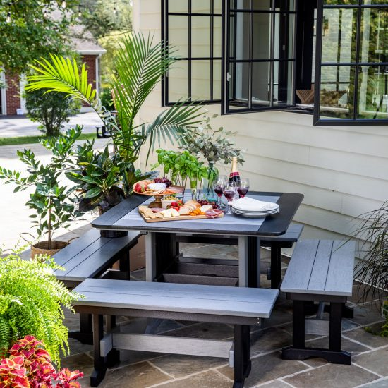 Poly Outdoor Dining Benches and Table
