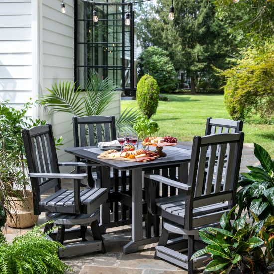 Poly Outdoor English Garden Swivel Chairs and Table