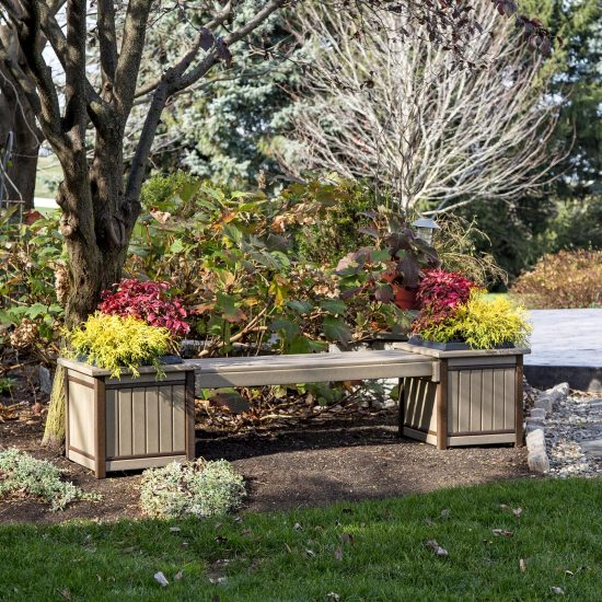 Poly Outdoor Bench with Flowers.