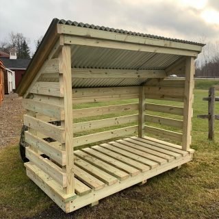 Are you looking to store your wood in a storage structure ? We have this slotted wood shed in stock and available to go to it's new home. Call or message us for pricing and additional information