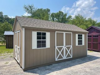 """This 10x18 A Frame Style Shed just became available. Features an additional double door and 24""""x36"""" Single Hung Windows. Call or message us for pricing and additional information!"""