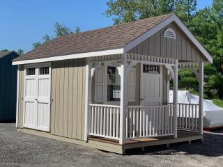 """This GORGEOUS 10x16 Cabin has just joined in on the Red Tag Special Pricing ! Features a 10x12 interior space and an overhead loft for storage. 4 foot porch. 3  24""""x36"""" single hung windows with shutters and flower boxes. Huge savings on this beauty ! Call or DM for pricing and additional information to make this yours.  Perfect for home office, garden shed, she shed, pool house, playhouse and so much more !! #amishmade #handmadeamish #authenticamishcraftsmanship #pawling #pawlingny #ny #hudsonvalley #dutchesscounty #sheshed #gardenshed #homeoffice #playhouse #tinybar #backyardshed"""