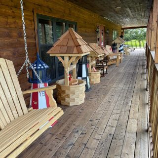 We have so many things ! Wishing Wells, Folding Adirondack Chairs, Lighthouses & More !!!