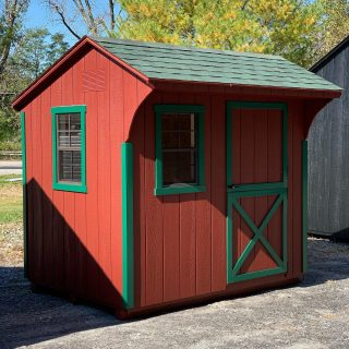 BRAND NEW ARRIVAL ! 6x8 Quaker Signature Series. Features a Single Dutch Door. Barn Red exterior, Green trim and Green Shingle Roof. I think Santa 🎅🏼 would be very pleased with this little shed. May he would store toys for the Reindeer. #theshedhaus #amishmade #amishshed #handmade #authenticamishcraftsmanship #handmadeamish #backyardshed #shed #hudsonvalley #dutchesscounty #pawling #ny #newyork #backyarddesign